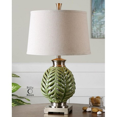 Uttermost Crackled Lime Green Flowing Fern Green Table Lamp