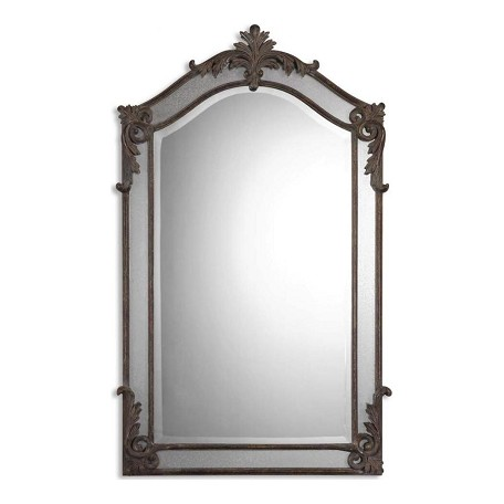 Uttermost  Alvita Beveled Mirror With Antiqued Metal And Mirror Frame