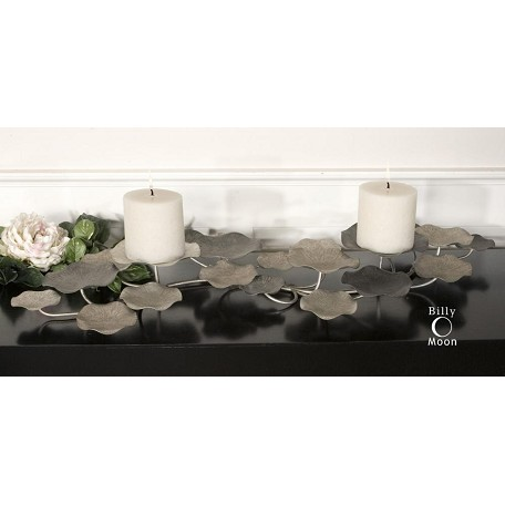 Uttermost Champagne Silver Lying Lotus Candleholder