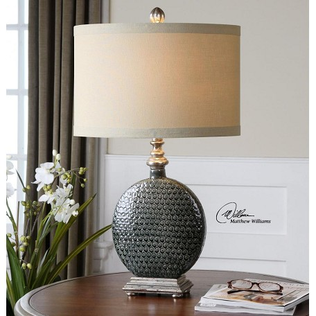 Uttermost Gray Ceramic And Silver Salinger Table Lamp With Cylinder Shade