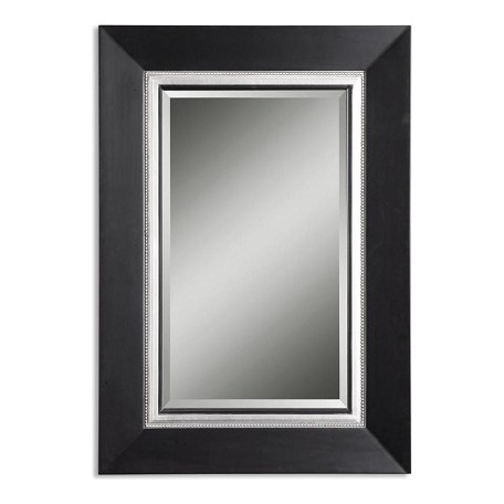Uttermost B Matte Black, Silver Leaf Whitmore Vanity Mirror With Smooth Wood Frame