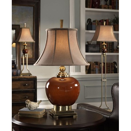 Uttermost Cinnamon Red Daviel Porcelain Round Table Lamp