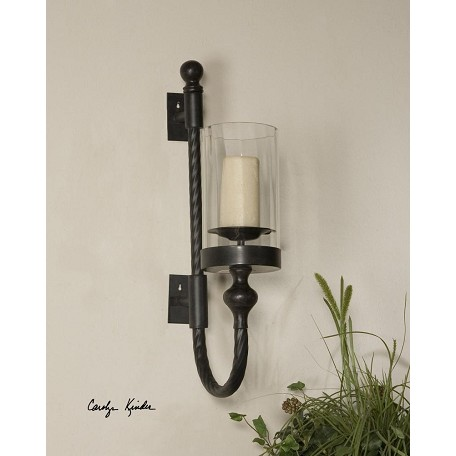Uttermost Aged Black And Red Garvin Twist Sconce With Candle