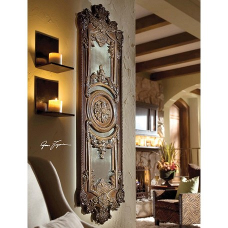 Uttermost P Chestnut Brown Domenica Distressed Heavily Decorated Mirror
