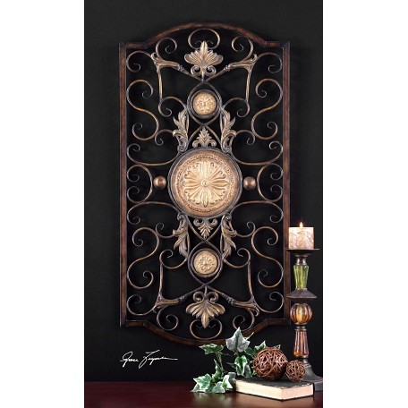 Uttermost Antiqued Gold Micayla Large Medallion Accent Metal Wall Art