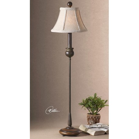 Uttermost rustic olive bronze metal buffet lamp with wood for Olive wood floor lamp
