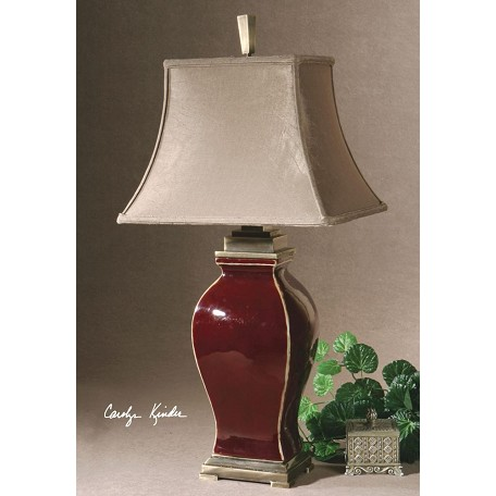 Uttermost Burgundy Ceramic With Bronze Metal Detail Rory Table Lamp