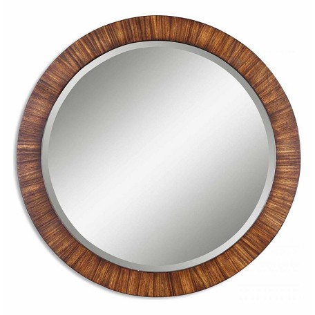 Uttermost B Zebrano Veneer Jules Beveled Round Mirror With Antiqued Finish Frame
