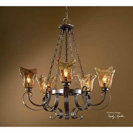 Uttermost 5 Light Single Tier Chandelier With Handmade Glass Shades