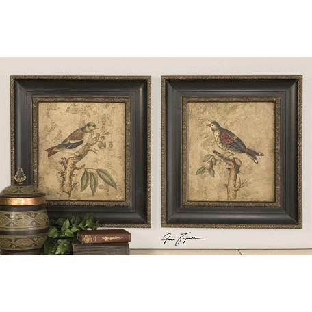 Uttermost Brown, Red, Black Colorful Birds On Branch I & Ii Set Of 2 Framed Wall Art