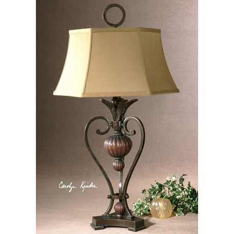 Uttermost Golden Bronze Metal With Antique Wood Tone Details Andra Table Lamp