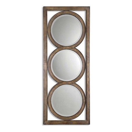Uttermost Silver Leaf Isandro Beveled Multi-Mirror Wall Art In Metal Frame