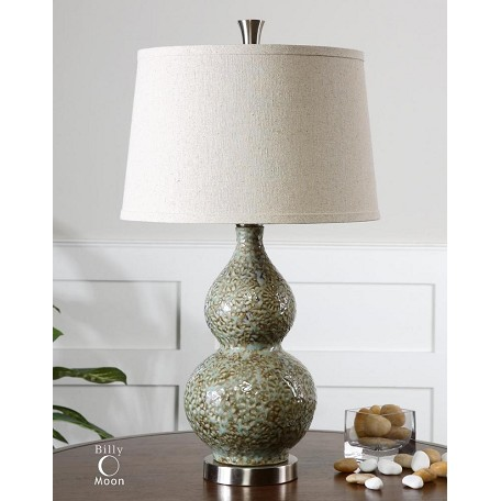 Uttermost Pale Green Ivory With Brushed Aluminum Hatton 1 Light Table Lamp