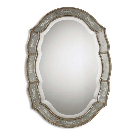 Uttermost B Antiqued Gold Fifi Decorative Beveled Mirror With Etched Mirror Frame