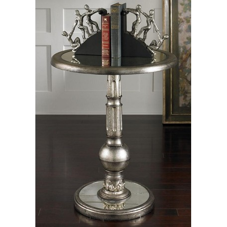 Uttermost Brushed Silver Finish Table With Antiqued Mirror Accent