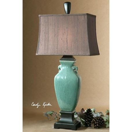 Uttermost Crackled Turquoise With Oil Rubbed Bronze Details Hastin Table Lamp