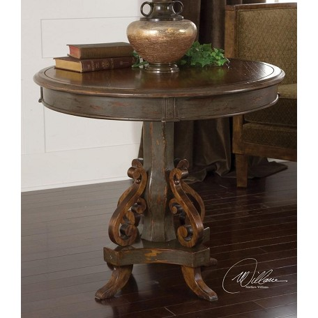 Uttermost Charcoal Gray Anya Round Table