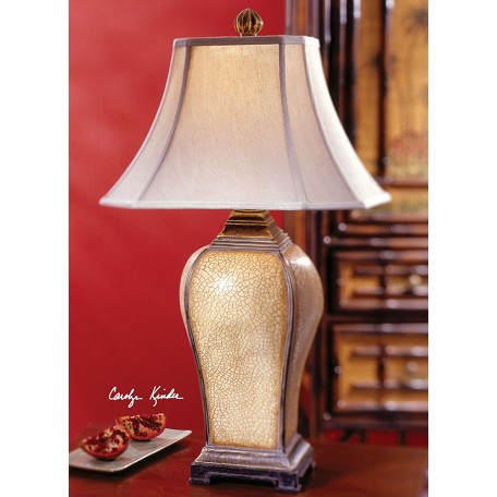 Uttermost Ivory Crackle, Brown Glaze, Warm Silver Accent Baron Table Lamp