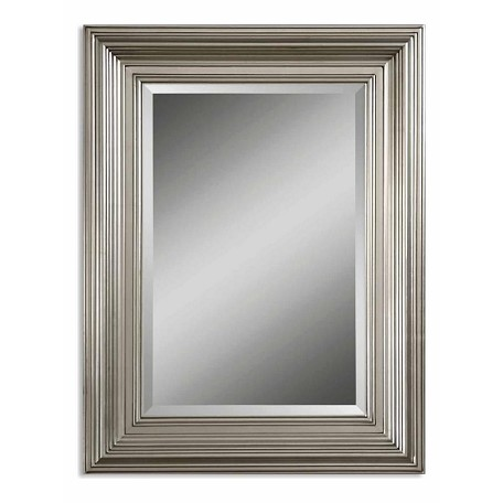 Uttermost B Silver Leaf Mario Beveled Mirror With Silver Leafed Wood Frame