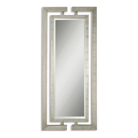 Uttermost B Scratched Silver Leaf Jamal Beveled Mirror With Open Detail Dual Wood Frames