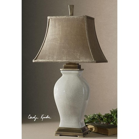 Uttermost Aged Ivory Glaze / Coffee Bronze Porcelain Table Lamp