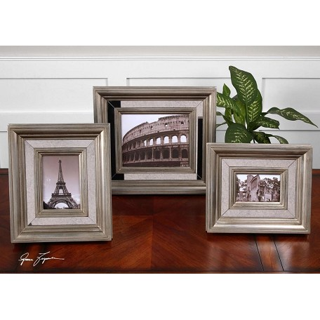 Uttermost Antique Silver Leaf Hasana Photo Frames Set Of 3