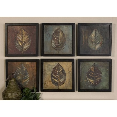 Uttermost Brown, Rust, Blue New Leaf Panel Set Of 6 Semi-Abstract Leaf Prints
