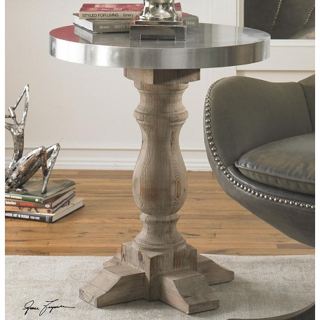 Uttermost Polished Aluminum Martel Table