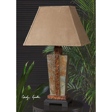 Uttermost Hand Carved Slate With Hammered Copper Details Lamp
