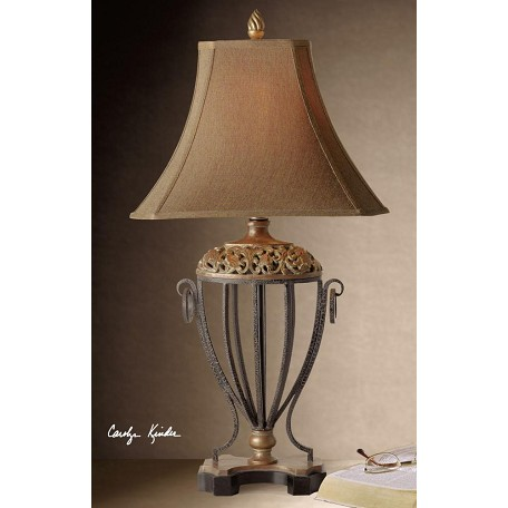 Uttermost Red Undertone With Antique Gold Leaf Jenelle Table Lamp