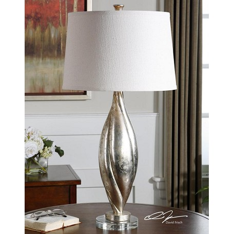 Uttermost Antiqued Silver Champagne Leafed With Crystal Foot Palouse 1 Light Table Lamp