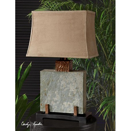 Uttermost Hand Carved Slate With Hammered Copper Details Slate Square Table Lamp