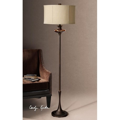 Uttermost metal floor lamp with glass accent from the for Distressed metal floor lamp