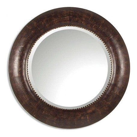 Uttermost B Brown Leather With Silver Leaf Leonzio Beveled Mirror