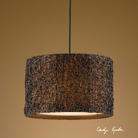 Uttermost Espresso Knotted Rattan 3 Light Hanging Shade Pendant