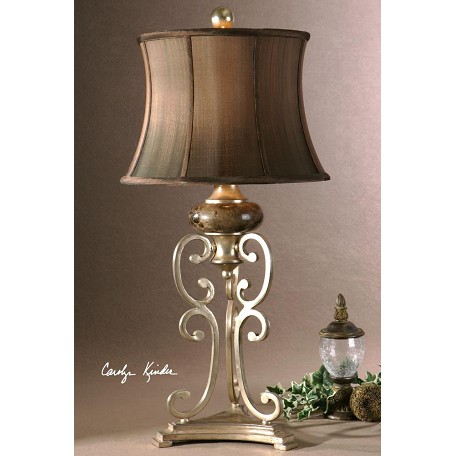 Uttermost Antiqued Silver Leaf With Chocolate Marble Details Marcella Table Lamp