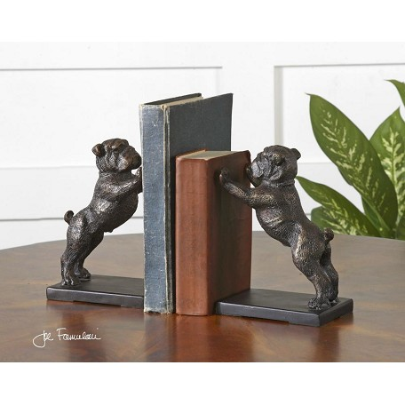 Uttermost Antique Golden Bronze Bulldogs Set Of 2 Book End