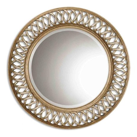 Uttermost B Antique Silver Leaf, Gold Leaf Entwined Round Mirror With Woven Look Frame