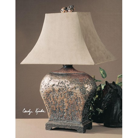 Uttermost Silver Leaf With Brown Glaze Xander Table Lamp