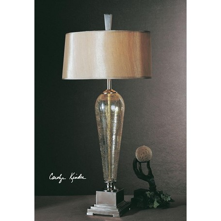 Uttermost Iridescent Crackled Glass With Brushed Nickel Metal Accents Celine Table Lamp