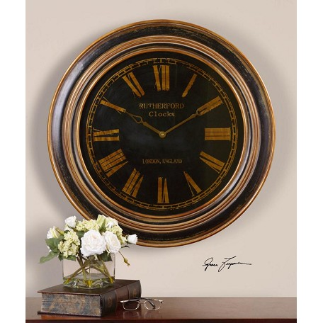 Uttermost Distressed Black Heavily Antiqued Golden Bronzeâ Clock