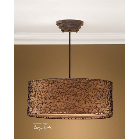 Uttermost Dark Brown Champagne Taupe 3 Light Hanging Shade Pendant