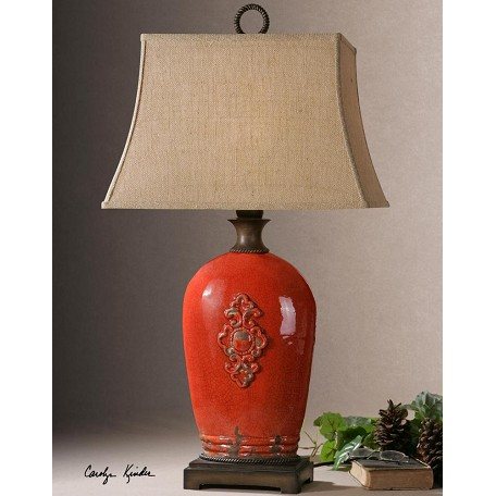 Uttermost Crackled Red With Rust Brown Mataline 1 Light Table Lamp