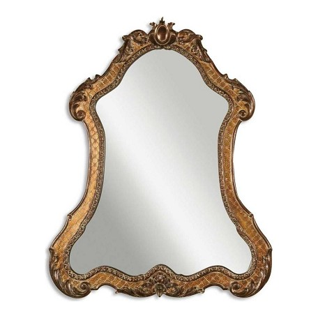 Uttermost P Gold With Green Glaze Cleopatra Mirror With Ornate Frame