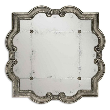 Uttermost P Distressed Silver Leaf Over Black Prisca Etched Mirror With Ornate Frame