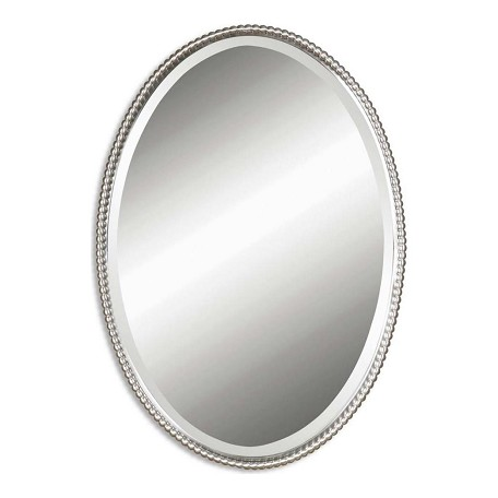 Uttermost B Brushed Nickel Sherise Oval Beveled Mirror With Beaded Frame
