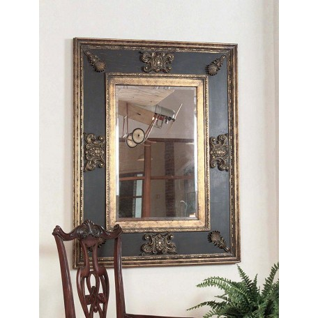 Uttermost B Gold, Black, And Green Glaze Cadence Stately Beveled Mirror