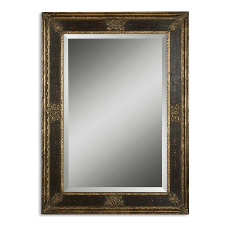 Uttermost B Gold, Black, And Green Glaze Cadence Small Stately Beveled Mirror