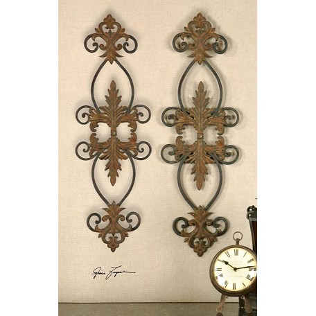 Uttermost Distressed Rust Brown And Aged Black Lacole Set Of 2 Metal Wall Art