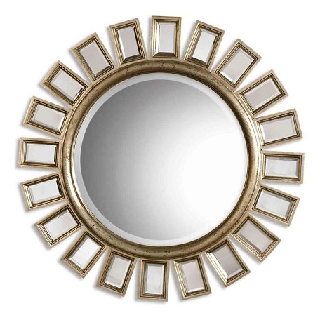 Uttermost B Silver Leaf Cyrus Round Mirror With In.Spokesin. Mirrored Framed